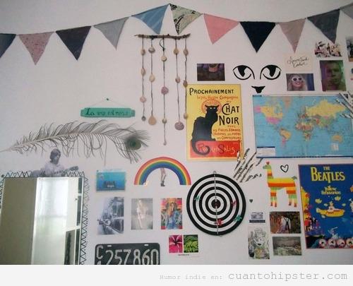 Pared de habitación decorada estilo hipster