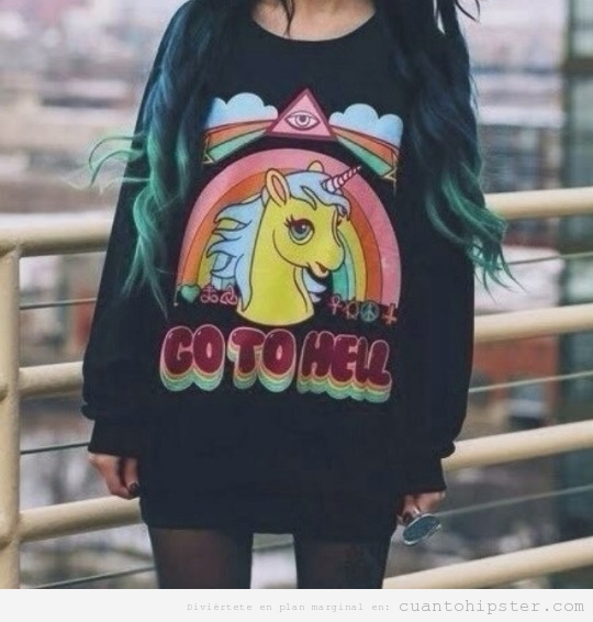 Look hipster sudadera unicornio Go to hell
