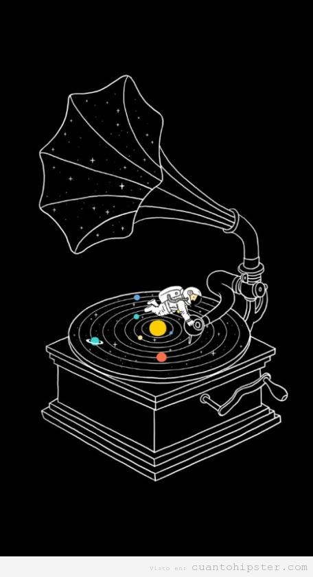 Ilustración bonita astronauta gramófono en el espacio