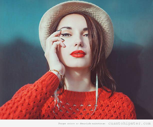 Labios hipsters rojo claro naranja