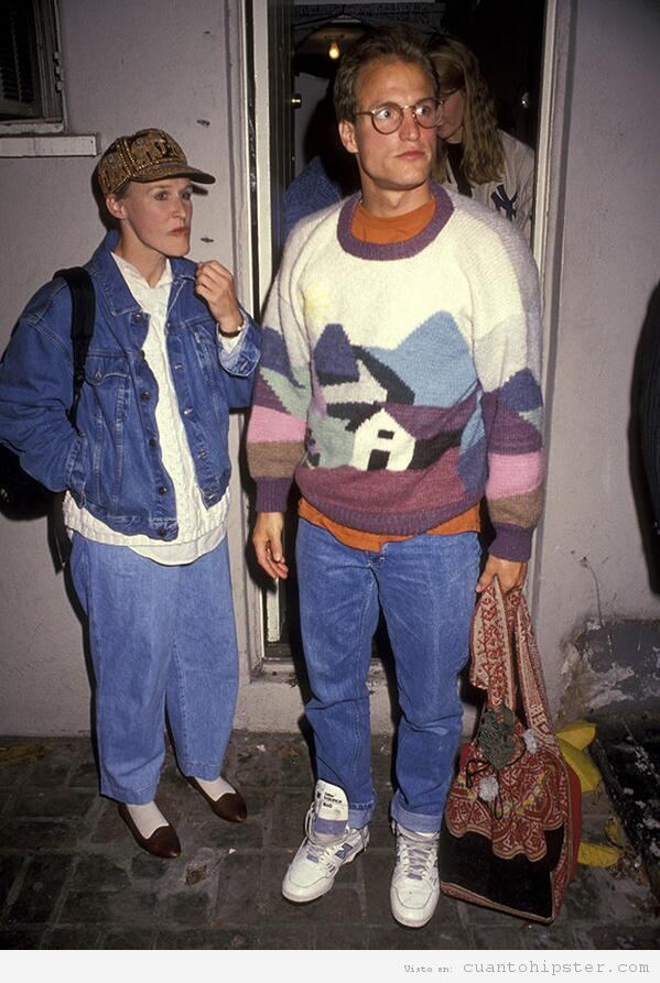 Glenn Close y Woody Harrelson jóvenes y hipsters