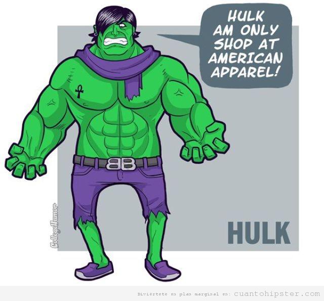 Superhéroe hipster Hulk solo compra en American Apparel
