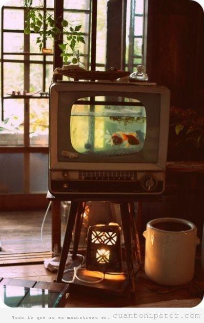 Pecera con forma de televisión retro vintage