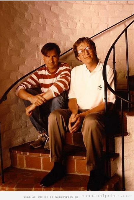 Steve Jobs hipster y Bil gates Nerd de jóvenes