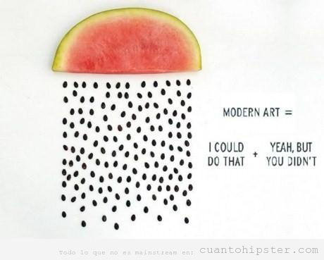 Arte contemporáneo sandia que llueve pepitas