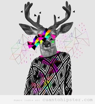Montaje de un cuerpo de hombre con jersey hipster y cabeza de ciervo