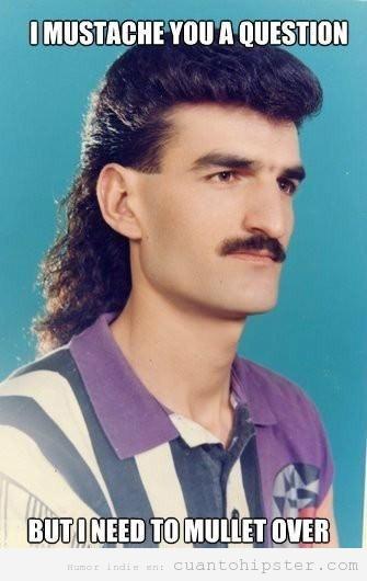 Meme hombre con pelo de los años 80 y con bigote ochentero