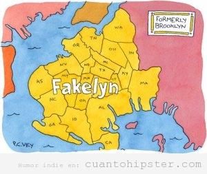 Mapa de Brooklyn visto como Fakelyn