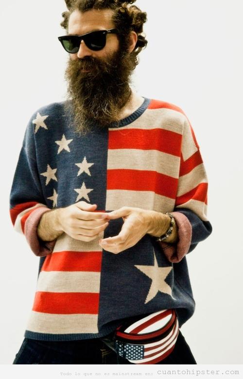 Chico con look hipster, barba y jersey de USA