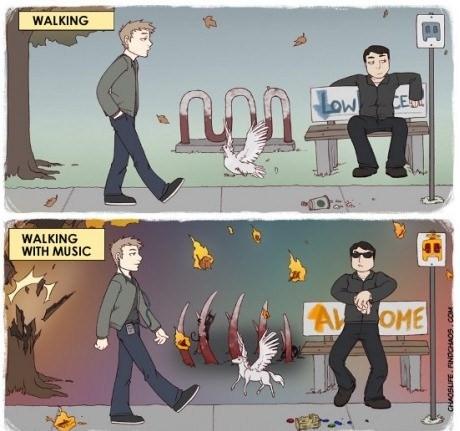 Comic gracioso sobre diferencia de caminar por la calle con y sin musica