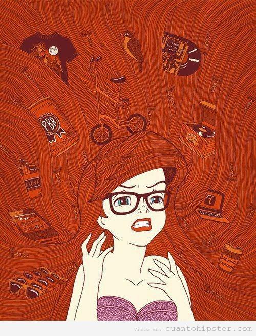 Ilustración de la sirenita hipster