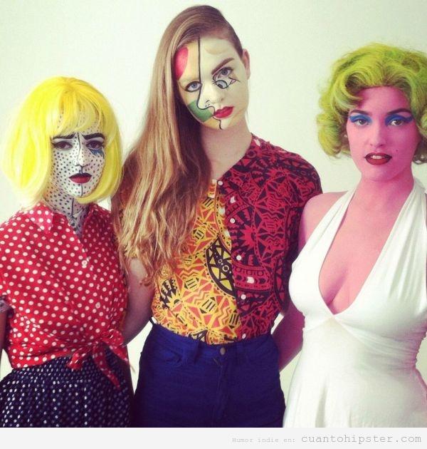 Chicas disfrazadas de obras de Lichtenstein, Picasso y Andy Warhol