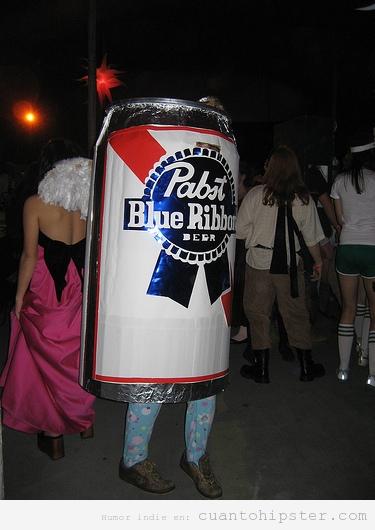 Disfraz para hipsters en Halloween de cerveza PBR