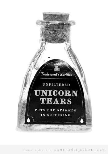 Bote con lágrimas de unicornio, perfume hipster