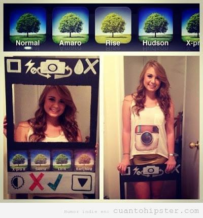 Chica con disfraz original de la app de instagram