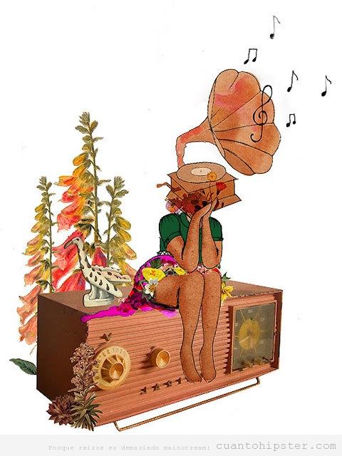 Ilustración bonita de una chica indie con el cuerpo de un gramófono