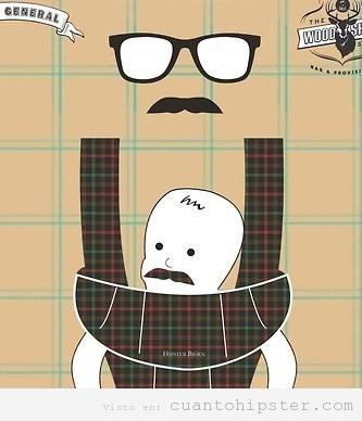 Dibujo gracioso de un padre hipster con moustache y su hijo colgando del pecho