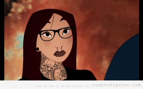 Dibujo de princesa Mulan con tatuajes y gafas de pasta