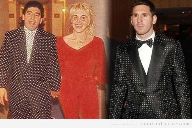 Esmoquin de lunares o topos de Messi en Balón de Oro 2012 igual Maradona