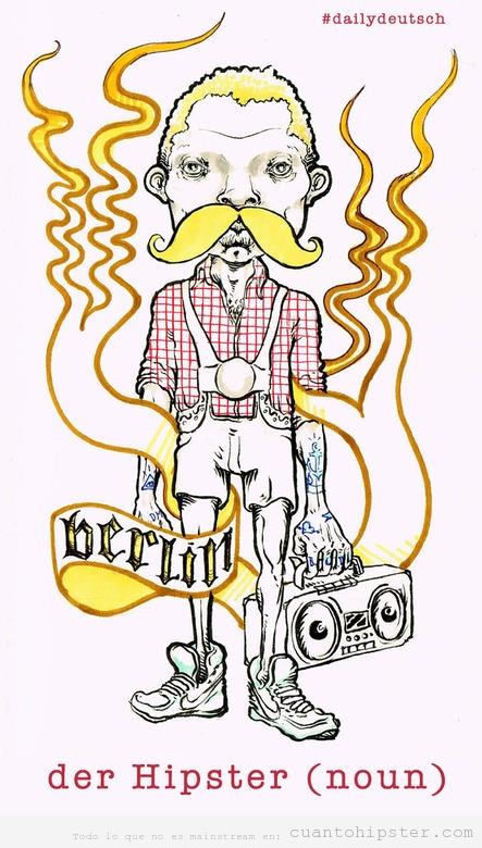 Ilustración de un hipster aleman, der hipster