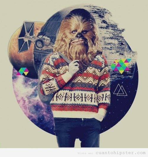 Ilustración de galaxia hipster con Chewbacca ropa moderna