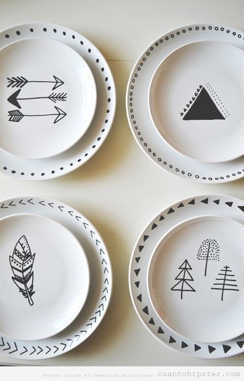 Platos con diseño hipster e indie