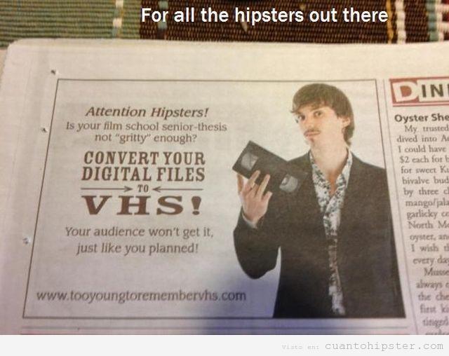 Anuncio para hipster en un periódico, pasar DVD a VS