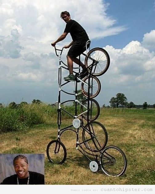 Hipster subido a una bici de cinco pisos
