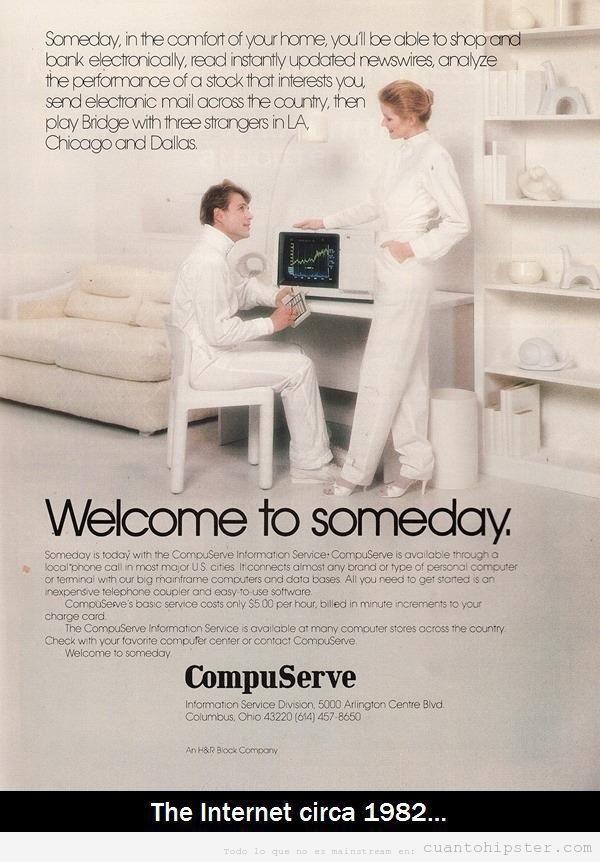 Anuncio curioso de Compuserve vaticinando lo que seria Internet en 1982