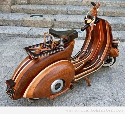 Moto hipster, vespa de madera tunning