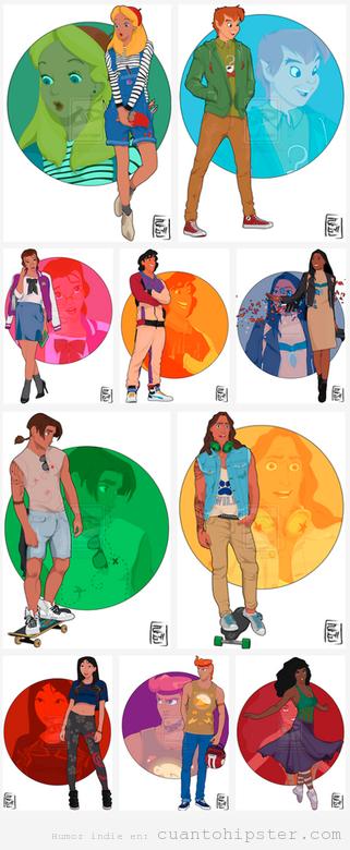 Personajes de películas Disneys con roopa hipster, indie y grunge