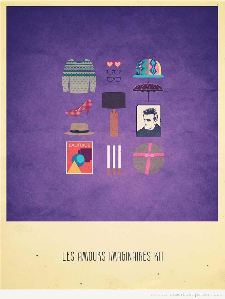 Ilustración indie de Alizee Lafon, Kit de Les amours imaginaires