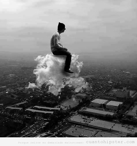 Imagen indie bonita, chico hipster snetado en una nube