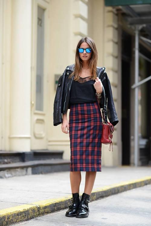 Consejo de look hipster, falda de tartán escocés