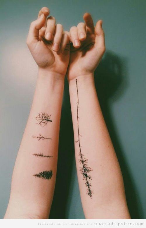 Tatuaje hipster de árboles en el antebrazo
