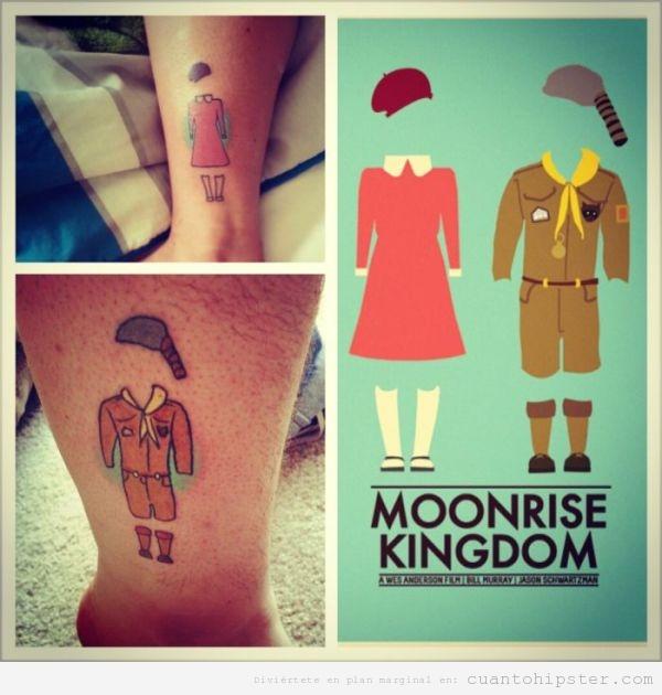 Tatuaje hipster con los personajes de Moonrise Kingdom
