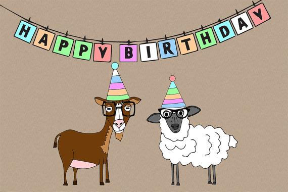 Happy birthday con cabra o oveja hipster