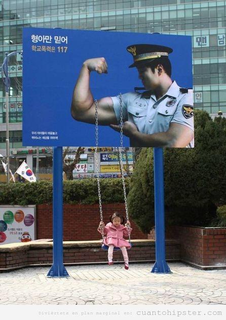 Anuncio banner origial en Corea Sur con columpio