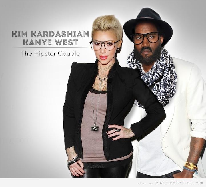 Photoshop: Kim Kardashian y Kanye West look hipster