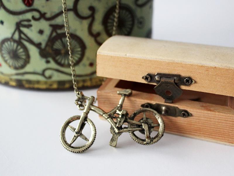 Regalo original chicas, collar con forma de bicicleta vintage
