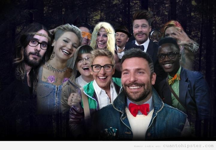 Selfie Los Oscar versión hipster, photoshopeado