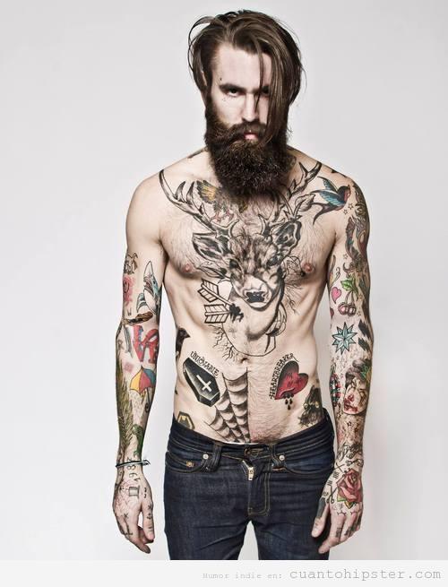 chico look hipster barba y tatuajes