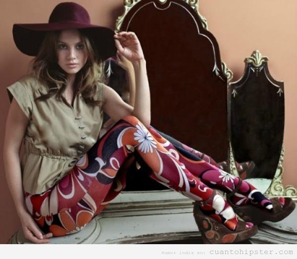Look hipster retro vintage chica, leggins psicodélicos