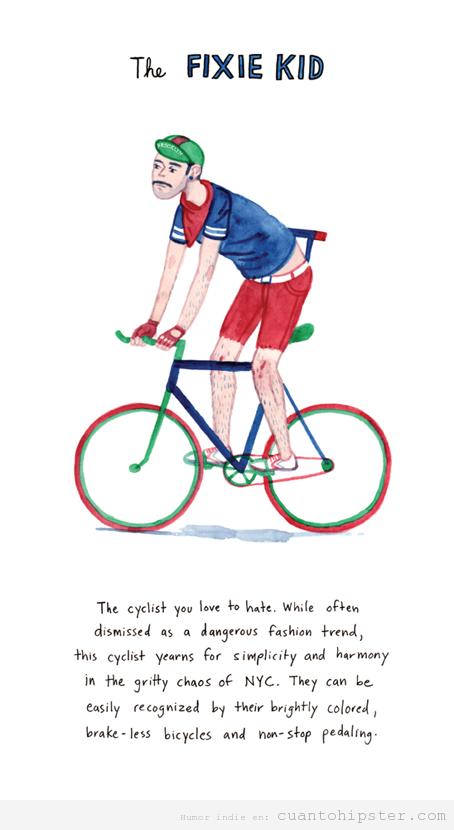 Viñeta graciosa hipster en una bici fixie