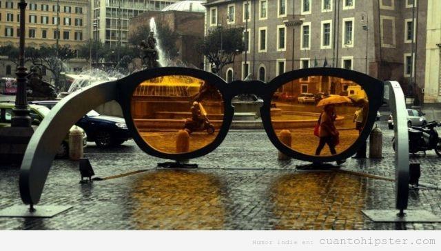 Escultura gafas de sol hipster, filto tostado Instagram