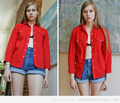 Chica look hipster, camisa grande vintage