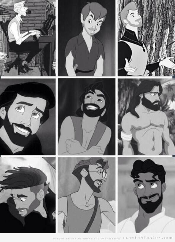 Príncipes Disney con barba y peinado hipster
