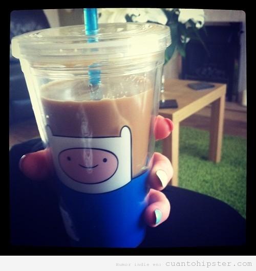 Taza café hipster con Finn de Hora de aventuras