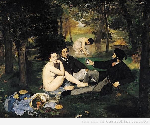 Déjéuner sur l'herbe, Manet, con smartphones