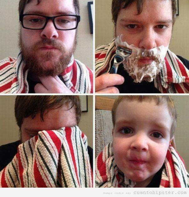 Imagen graciosa de un hombre que se afeita la barba